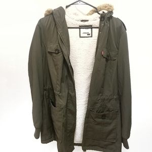 Levi's Sherpa Lined Mid Length Army Green Jacket